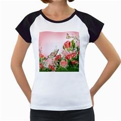 Flora Butterfly Roses Women s Cap Sleeve T