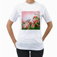 Flora Butterfly Roses Women s T Shirt (white) (two Sided)