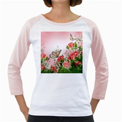 Flora Butterfly Roses Girly Raglans