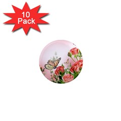 Flora Butterfly Roses 1  Mini Magnet (10 pack)