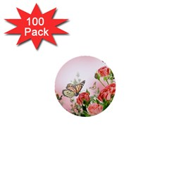 Flora Butterfly Roses 1  Mini Buttons (100 pack)