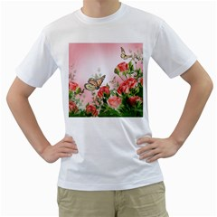 Flora Butterfly Roses Men s T-Shirt (White) (Two Sided)