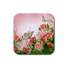 Flora Butterfly Roses Rubber Square Coaster (4 pack)