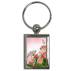 Flora Butterfly Roses Key Chains (Rectangle)