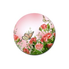 Flora Butterfly Roses Magnet 3  (Round)