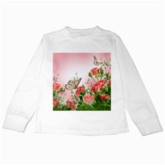Flora Butterfly Roses Kids Long Sleeve T-Shirts
