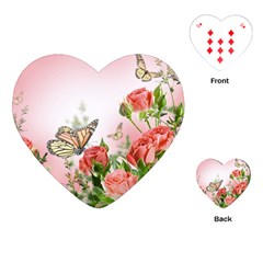 Flora Butterfly Roses Playing Cards (Heart)