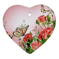 Flora Butterfly Roses Heart Ornament (Two Sides)
