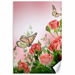 Flora Butterfly Roses Canvas 24  x 36