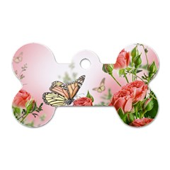 Flora Butterfly Roses Dog Tag Bone (One Side)