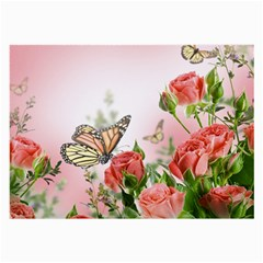 Flora Butterfly Roses Large Glasses Cloth (2 Side)