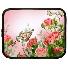 Flora Butterfly Roses Netbook Case (Large)