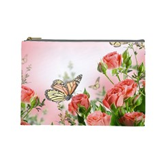 Flora Butterfly Roses Cosmetic Bag (Large)