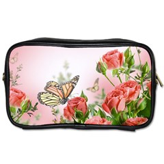 Flora Butterfly Roses Toiletries Bags 2 Side