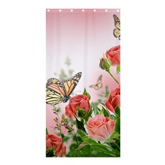 Flora Butterfly Roses Shower Curtain 36  x 72  (Stall)