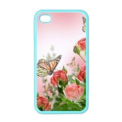 Flora Butterfly Roses Apple Iphone 4 Case (color)