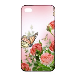 Flora Butterfly Roses Apple iPhone 4/4s Seamless Case (Black)
