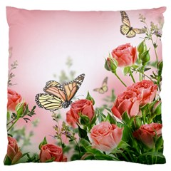 Flora Butterfly Roses Large Cushion Case (One Side)