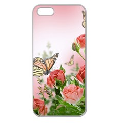 Flora Butterfly Roses Apple Seamless iPhone 5 Case (Clear)
