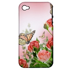 Flora Butterfly Roses Apple iPhone 4/4S Hardshell Case (PC+Silicone)