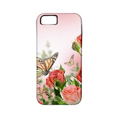 Flora Butterfly Roses Apple Iphone 5 Classic Hardshell Case (pc+silicone)