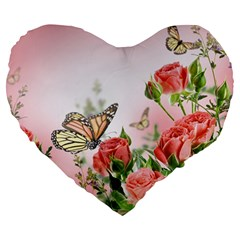 Flora Butterfly Roses Large 19  Premium Heart Shape Cushions