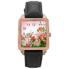 Flora Butterfly Roses Rose Gold Leather Watch