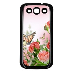 Flora Butterfly Roses Samsung Galaxy S3 Back Case (Black)