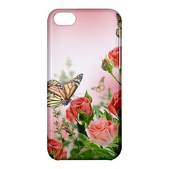 Flora Butterfly Roses Apple iPhone 5C Hardshell Case