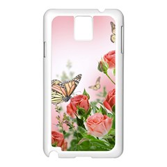 Flora Butterfly Roses Samsung Galaxy Note 3 N9005 Case (White)