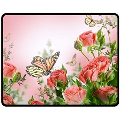Flora Butterfly Roses Double Sided Fleece Blanket (medium)