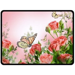 Flora Butterfly Roses Double Sided Fleece Blanket (Large)