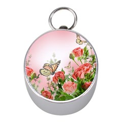 Flora Butterfly Roses Mini Silver Compasses