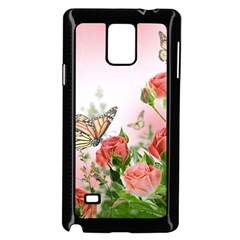 Flora Butterfly Roses Samsung Galaxy Note 4 Case (black)