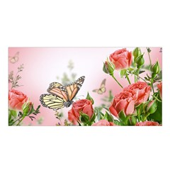 Flora Butterfly Roses Satin Shawl