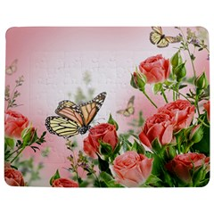Flora Butterfly Roses Jigsaw Puzzle Photo Stand (Rectangular)