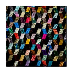 Abstract Multicolor Cubes 3d Quilt Fabric Tile Coasters