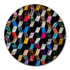 Abstract Multicolor Cubes 3d Quilt Fabric Round Mousepads