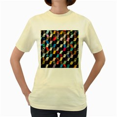 Abstract Multicolor Cubes 3d Quilt Fabric Women s Yellow T Shirt