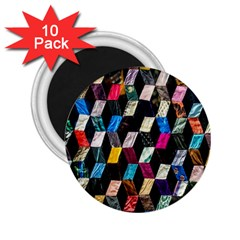 Abstract Multicolor Cubes 3d Quilt Fabric 2.25  Magnets (10 pack)