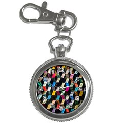 Abstract Multicolor Cubes 3d Quilt Fabric Key Chain Watches
