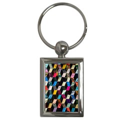 Abstract Multicolor Cubes 3d Quilt Fabric Key Chains (Rectangle)