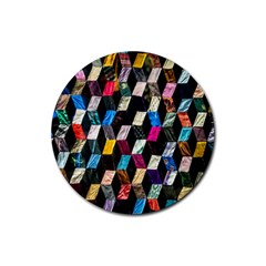 Abstract Multicolor Cubes 3d Quilt Fabric Rubber Round Coaster (4 Pack)