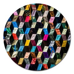 Abstract Multicolor Cubes 3d Quilt Fabric Magnet 5  (Round)