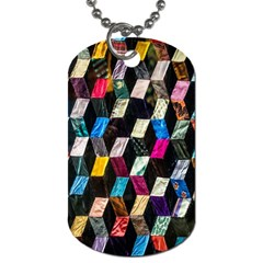 Abstract Multicolor Cubes 3d Quilt Fabric Dog Tag (One Side)