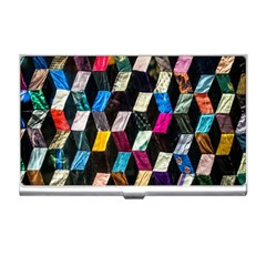 Abstract Multicolor Cubes 3d Quilt Fabric Business Card Holders