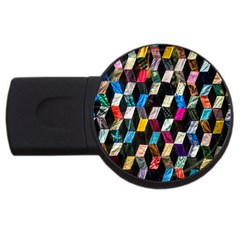 Abstract Multicolor Cubes 3d Quilt Fabric USB Flash Drive Round (1 GB)