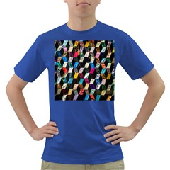 Abstract Multicolor Cubes 3d Quilt Fabric Dark T-Shirt