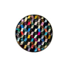 Abstract Multicolor Cubes 3d Quilt Fabric Hat Clip Ball Marker (10 pack)