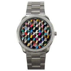 Abstract Multicolor Cubes 3d Quilt Fabric Sport Metal Watch